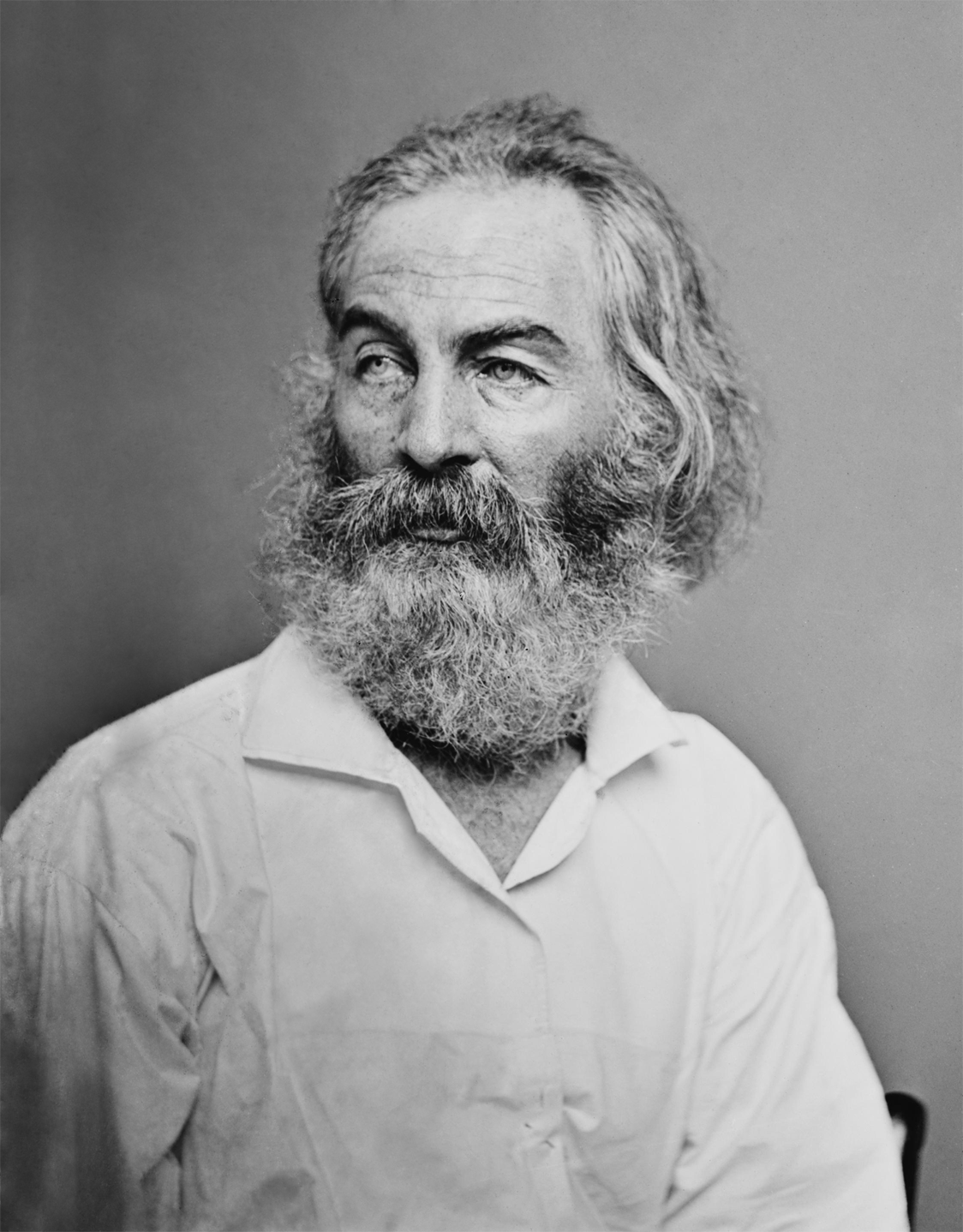 Walt Whitman as photographed by Mathew Brady.
